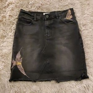 Fun frayed black For the Republic jean skirt